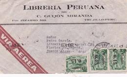 LIBRERIA PERUANA DE C GUIJON MIRANDA - COMMERCIAL ENVELOPPE TRUJILLO (PERU) A BUENOS AIRES YEAR 1942 SURTAXE - BLEUP - Peru