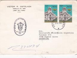 VICTOR R OSTOLAZO - COMMERCIAL ENVELOPPE CIRCULEE PERU TO ARGENTINA YEAR 1989 STAMP A PAIR - BLEUP - Peru