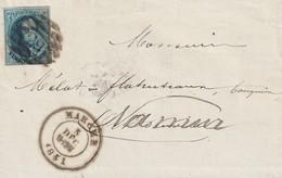 COB N° 11 Sur Pli - Oblitération P79 8 Barres Marche - 4 Marges - 1858-1862 Médaillons (9/12)