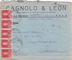 CAGNOLO Y LEON - COMMERCIAL ENVELOPE CIRCULEE YEAR 1928 CORDOBA A PARIS TIMBRES UNIES - BLEUP - Argentine