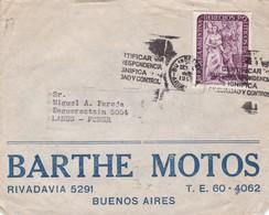 BARTHE MOTOS - COMMERCIAL ENVELOPE CIRCULEE YEAR 1952 BUENOS AIRES A LANUS BANDELETA PARLANTE - BLEUP - Argentine