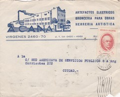 A CANALE - COMMERCIAL FRONT ENVELOPE CIRCULEE YEAR 1938  - BLEUP - Argentine