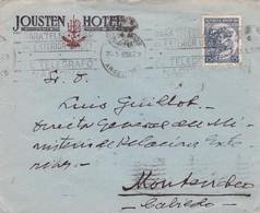 JOUSTEN HOTEL - COMMERCIAL ENVELOPE CIRCULEE YEAR 1938 BANDELETA PARLANTE BUENOS AIRES A MONTEVIDEO - BLEUP - Argentine
