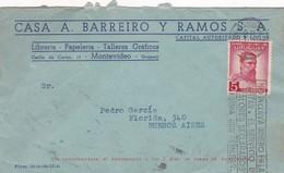 CASA A BARREIRO Y RAMOS- COMMERCIAL ENVELOPE CIRCULEE 1920 BANDELETA PARLANTE URUGUAY - BLEUP - Uruguay