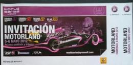 CIRCUITO MOTORLAND - ALCAÑIZ - ESPAÑA. RENAULT SPORT 2012. - Tickets - Entradas