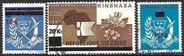 Zaire  1977  Sc#857-8, 860   3 Diff Surcharges  Used   2016 Scott Value $4.10 - Zaïre