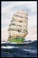 "Postcard • Salmon Series # 3870 • AFD Bannister, 1930 • ""Gustav"" - A Three Masted Barque, Homeward Bound - Sailing Vessels"