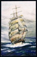 """Postcard • Salmon Series # 3868 • AFD Bannister, 1930 • """"Lammermoor"""" Shortening Down For A Squall - Sailing Vessels"""