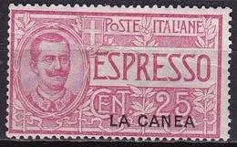 CRETE 1906 Italian Office : Italian Stamp For Express Letters 25 C Rose With Overprint LA CANEA  Vl. E 1 MH (creased) - Kreta