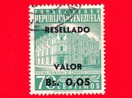 VENEZUELA - Usato - 1965 - Posta Centrale, Caracas - Main Post Office - Resellado - 0.05 Su 70 Posta Aerea - Venezuela