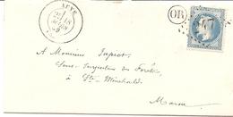 """MARNE (49)  LSC De  AUVE  GC 247  Sur NAP Pour  STE MENEHOULD  + """"OR"""" - Marcophilie (Lettres)"""
