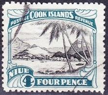NIUE1932 4d Black & Greenish BlueSG66FU - Niue