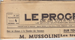Le Progrès De La Côte D'Or. 4 Décembre 1942. Dijon. - 1939-45