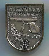 Archery, Shooting - Schutzen Germany, Hammerli 208 Target Pistol, Big Pin, Badge, Abzeichen, D 45 X 35 Mm - Archery