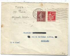 PAIX 50C BDF FAUX DE BARCELONE + SEMEUSE 15C LETTRE PARIS 1937 SIGNE CALVES TRES RARE - 1932-39 Peace