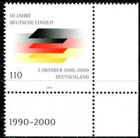 A13-28-3) BRD - Mi 2142 ECKE REU - ** Postfrisch (C) - 110Pf   10 Jahre Deutsche Einheit - [7] República Federal