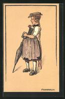 Künstler-AK Sign. F. Garraux: Kleines Mädchen In Tracht Mit Schirm - Autres Illustrateurs