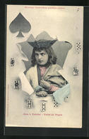 AK Valet De Pique, Les 4 Valets, Pik-Bube Durch Zerrissenes Papier Mit Spielkarten - Cartes à Jouer