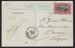 Etat Indépendant Du Congo COB 31 ( Ou 41 ) Sur Carte Postale, 1909 Surchargés Congo Belge + MATADI ; 3 Scans ! - Belgisch-Kongo