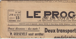 Le Progrès De La Côte D'Or. 15 Octobre 1942. Dijon. - 1939-45