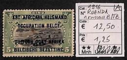 NB - [814490]B/TB//**/Mnh-c:13e-Ruanda-Urundi 1916 - N° 28A/13, Surcharge Occupation Belge, Rousseur, Paysages - 1916-22: Neufs