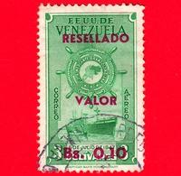 VENEZUELA - Usato - 1965 - Flotta Mercantile Grancolombiana - Fleet - Ship - 0.10 Bs Su 3 Resellado - P. Aerea - Venezuela