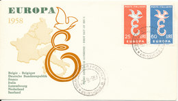 Italy FDC 13-9-1958 EUROPA CEPT Complete Set Of 2 With Cachet - Europa-CEPT