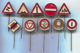 Traffic Road Sign - Verkehrszeichen, Vintage Pin, Badge, Abzeichen, 10 Pcs - Unclassified