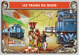 Niger 2016 Trains From Niger ,map , Flag Of Niger - Niger (1960-...)