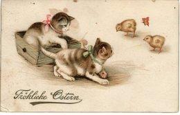 Fröhliche Ostern Ca 1910 Katzenbabys Und Kücken - Ostern