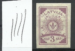 LATVIA Lettland 1919 Michel 15 Vertically Ribbed Paper MNH - Lettonie
