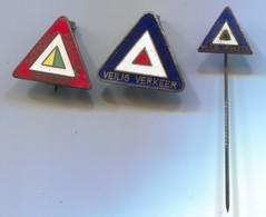 Traffic Road Sign - Verkehrszeichen, Vintage Pin, Enamel Badge, Abzeichen, 3 Pcs - Badges