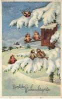 Fröhliche Weihnachtsgrüße 1942 Winterlandschaft Mit Vogelhaus - Weihnachten
