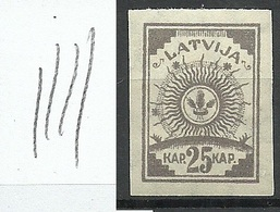 Lettland Latvia 1919 Michel 20 Y (vertically Ribbed Paper/senkrecht Geriffeltes Papier) MNH - Lettonie
