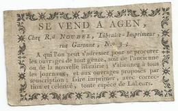 EX - LIBRIS :  AGEN : NOUBEL LIBRAIRE IMPRIMEUR RUE GARONNE - Ex-libris