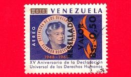 VENEZUELA - Usato - 1964 - Eleanor Roosevelt - Dichiarazione Diritti Umani (1963) - Resellado 0.50 Su 1.00  P. Aerea - Venezuela