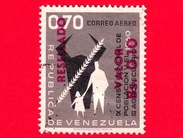 VENEZUELA - Usato - 1965 - IX Censimento Della Popolazione - III Agricolo - Resellado 0.10 Su 0.70 - Posta Aerea - Venezuela