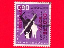 VENEZUELA - Usato - 1965 - IX Censimento Della Popolazione - III Agricolo - Resellado 0.10 Su 0.90 - Posta Aerea - Venezuela