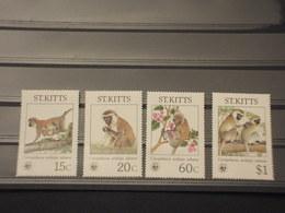 ST. KITTIS - 1986 WWF SCIMMIE  4  VALORI - NUOVI(++) - St.Kitts E Nevis ( 1983-...)