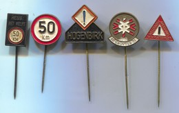 Traffic Road Sign - Verkehrszeichen, Vintage Pin, Badge, Abzeichen, 5 Pcs - Badges