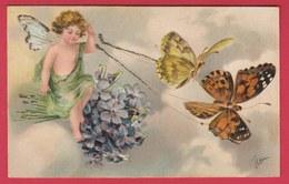 Angelot ... Tirés Par 2 Papillons -1906 ( Voir Verso, Carte En Relief ) - Anges