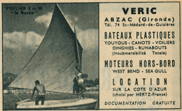 Ancienne Publicité (1960) : VERIC, Bateaux, Moteurs Hors-Bord, Abzac (Gironde), Youyous, Voiliers, Dinghies, Runabouts.. - Publicités