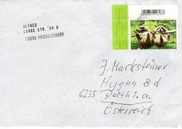 Auslands - Brief Von 15370 Fredersdorf Mit 90 Cent Tierkinder Waschbär Eckrandstück  2019 - BRD