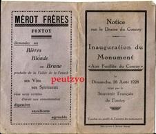 Document  Inauguration De Monument Aux Fusillés Du Conroy  Fontoy  Gondrecourt Eton 26 Aout 1928  B/1502 - Documents