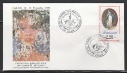 OBLIT. ILLUSTRÉE CONGRES CALAIS 11/89 - DENTELLE / BEFFROI - Postmark Collection (Covers)