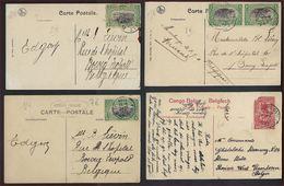 4 Postkaarten Met Verschillende Onderwerpen Allen Met Afstempeling Van LEOPOLDVILLE ; Staat Zie 2 Scans ! - Belgisch-Kongo