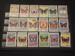 UGANDA - 1989/92 FARFALLE 13+1+2+1 VALORI - NUOVI(++) - Uganda (1962-...)