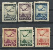 POLONIA YVERT AEREO 10/15  MNH  **, EXCEPTO 13 MH  * - Aéreo