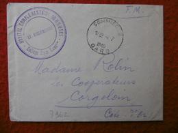 LETTRE CACHET DE FRANCHISE SOMMIERES HOPITAL COMPLEMENTAIRE 1940 - Marcophilie (Lettres)