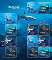2016   Fauna De México, Tiburones Pelagicos HOJA SOUVENIR MNH SHARKS IN MEXICO  Sheet  Of 12 Stamps MARINE LIFE - Mexico